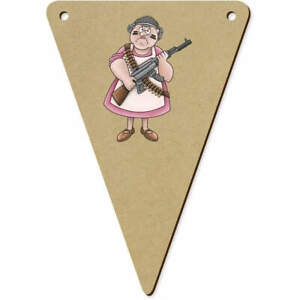 5 x 140mm #x27;Armed Dinner Lady#x27; Wooden Bunting Flags BN00048639