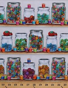 Cotton Jars of Buttons Thread Sewing Cotton Fabric Print by the Yard D762.56 $12.95