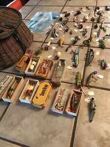 Vintage Lot Of Antique Fishing Lures Over 50 Heddon South Bend CCB CO 1920s
