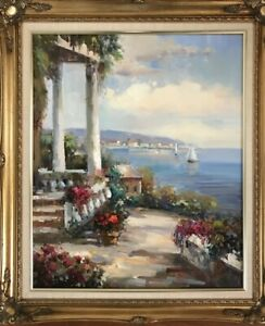 """Seascape Scenery Signed Impressionist Oil Painting 16"""" X 20"""" $89.00"""