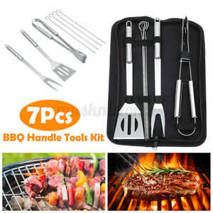7PCS/Set Stainless Steel BBQ Barbecue Baking Gripper Sticks Fork Tool
