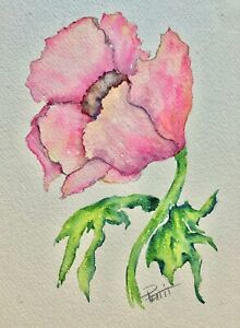 ORIGINAL Watercolor Painting - IMPRESSIONISM - PINK FLOWER Leaves White Paper $2.99