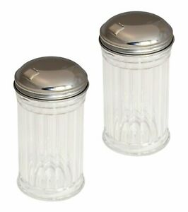 Set of 2 Clear Glass Sugar Shakers Dispensers with Stainless Steel Side Flip...