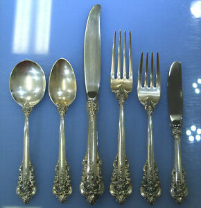 Wallace Grande Baroque 6pc Sterling Silverware Service for 12 w/ Serving - 79pcs