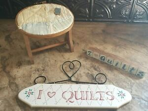 Lot of 3 I Love Quilts Hoop Vintage Homemade Sewing Rack Decoration Country $11.00