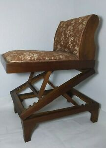 Antique Folding Zig Zag Frame Adjustable Height Solid Wood Chair $130.00