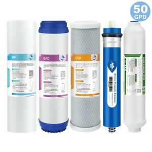 5 Stage Reverse Osmosis System Water Filter with 50GPD RO Membrane 5 Pack Set US $29.99