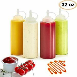 4 Pack 32oz/960ml Plastic Squeeze Condiment Bottles Perfect for Ketchup BBQ