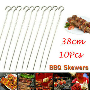 10Pcs Metal SKEWERS Barbecue Sticks BBQ Meat Vegetable Kebab Shish Kitchen 38cm