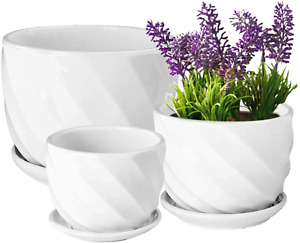 Encheng Round Modern Ceramic Garden Flower Pots Small to Medium Sized,White Plan