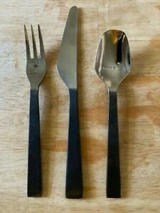 Forged 18/10 Stainless black 3-piece Flatware for 12 and serve ware