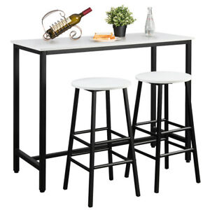 3 Piece Bar Table Set Pub Table and 2 Stools Counter Kitchen Dining Set White