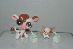Littlest Pet Shop #2505 Cow Mom Brown White Pink Blue Dot Eyes #2506 Her Baby $36.99