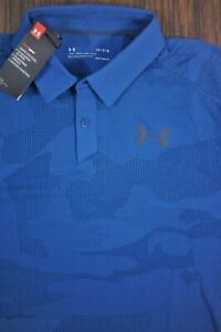 NWT Under Armour Performance Vented Polo Shirt Blue Green Camo Men's Large L $18.50