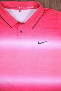 Nike Tiger Woods Dri Fit Performance Polo Shirt Red Ombre Stripe Men's Large L $6.50