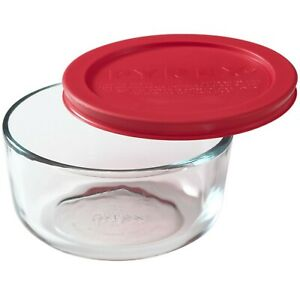 New Pyrex 2-Cup Clear Glass Storage Bowl Container Dish w Red Top Cover Lid