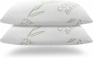 2 Pack Bamboo Memory Foam King Queen Bed Pillow Cool Hypoallergenic Luxury USA