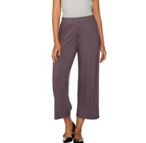 LOGO by Lori Goldstein Pull On Wide Leg Knit Cropped Pants Mauve 2X