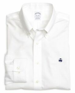 $79 NWT Brooks Brothers Regent Fit Long Sleeve Solid Sport Shirt White L Large $29.99