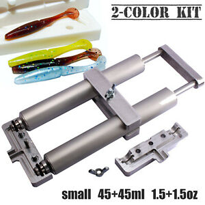 CooB Aluminium Soft Lure Injector Mold 2x45 ml for Plastisol Dual Color Hand Kit