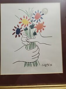Vintage Pablo Picasso Lithograph Art 1958 Hands with Flowers Plate Signed WP  $80.00