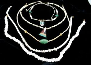 LOT of 5 Vintage Puka Shell Stone Mother Of Pearl Jewelry Necklaces