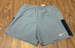"""#279 MEN NIKE DRI FIT Gray 2XL Running SHORTS 7"""" Inseam NEW WITH TAGS $24.99"""