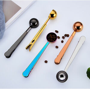 Two-in-one Coffee Spoon Stainless Steel Scoop Bag Seal Clip Coffee Measuring