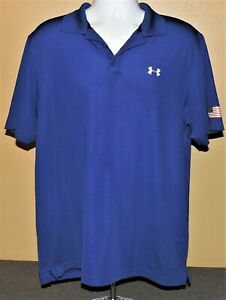 Under Armour Heat Gear Golf Polo Shirt Men's Large Loose American Flag 🇺🇸 $16.71