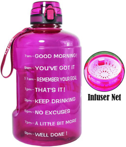 BuildLife Gallon Motivational Water Bottle Wide Mouth with Time Marker/Flip Top