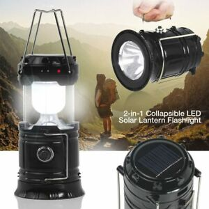 2 Way Rechargeable Camping Lantern Portable Light w Solar Panel