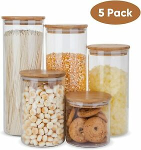 Glass Food Storage Containers Set,Airtight Food Jars with Bamboo Wooden Lids -