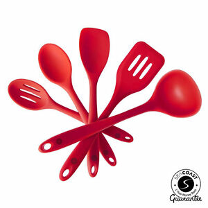 Seacoast Silicone Kitchen Utensils 5 Piece Set Red