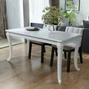 vidaXL Dining Table 45.7quot; High Gloss White Dinner Table Home Kitchen Desk