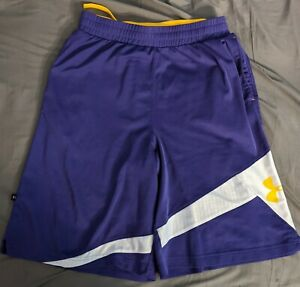 Under Armour Men's Purple Yellow Basketball Gym Shorts L Large $16.00