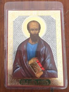 RUSSIAN ICON St. Paul Laminated Christian Picture St Paul Lithography AU $3.00