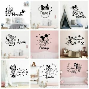 Cartoon Custom Name Mickey Mouse Minnie Vinyl Wall Sticker Decor For Kids Room