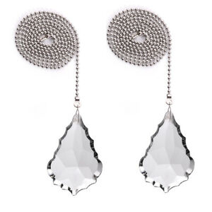 2 Pieces Clear Crystal Fan Pull Chain Large 76mm French Cut Drop Prisms