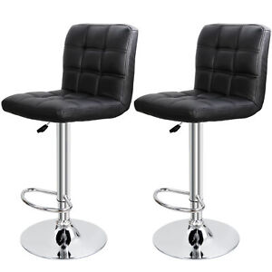 Set of 2 Adjustable Bar Stools PU Leather Modern Dinning Chair with Back $75.99