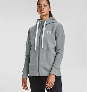 Under Armour Women's UA Rival Fleece Full Zip Hoodie Gray 1356400 035 NWT $49.45