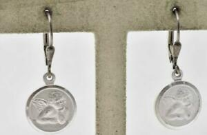 Italy Modern Sterling Silver Angle Cupid religious Disc Ladies dangle earrings $14.00