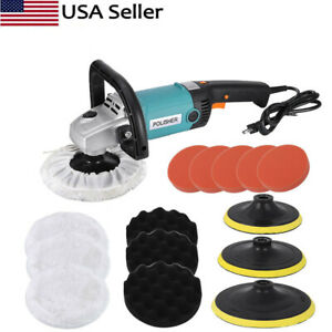 Electric Car Polisher Buffer Sander Waxer Kit Variable 6 Speed 7quot; 1600W W Pads