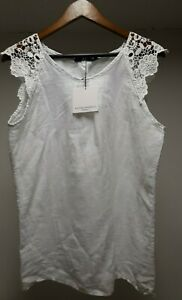 Gorgeous MICHELANGELO White LINEN Women's LACE Sleeve Boat Neck Tunic Top ITALY
