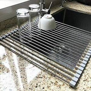Large Dish Drying Rack Attom Home Roll Up Multipurpose Foldable Stainless Steel