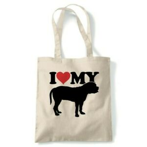 I Love My Bullmastiff Tote Reusable Shopping Canvas Bag Gift