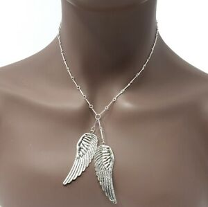 Take A Flight Necklace Jewelry Silver Angle Wing Gift $8.00