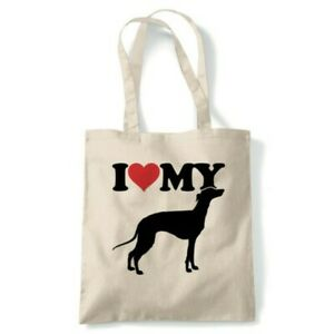 I Love My Greyhound Tote Reusable Shopping Canvas Bag Gift