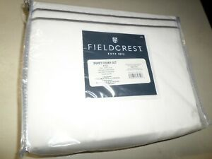 New Fieldcrest White Cashmere Gray Stripe 100% Cotton King Size Duvet Cover Set