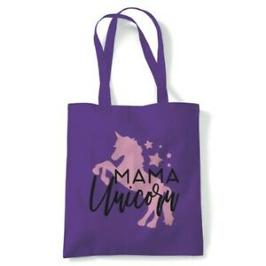 Mama Unicorn Magical Fantasy Tote Reusable Shopping Canvas Bag Gift Her