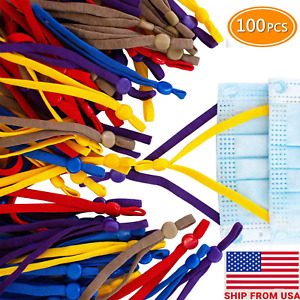 100 PCS Elastic Band Cord Straps with Adjustable Buckle Lock for DIY Mask Sewing $16.86